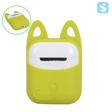 For Apple Airpods Silicone Case Soft Cat Ears Design Protector Case Sleeve Pouch With Buckle for Air pods Earphone
