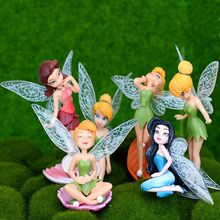 Retail boneca 6~8 cm Tinkerbell dolls Fairy Adorable tinker bell Mini toy flower pretty doll Action Figure brinquedo 6pcs/set(China)