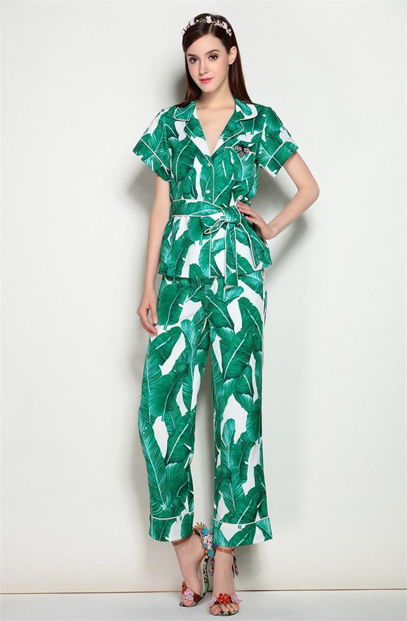 Brand Fashion Two Piece Set Women Runway Suit Fashion Green Leaf Print Dragonfly Beading Shirt + Elastic Waist Pants Sets 10
