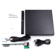 Hot Computer accessory 1pcs Portable USB 2.0 DVD CD DVD-Rom SATA External Case Slim for Laptop Notebook(China)