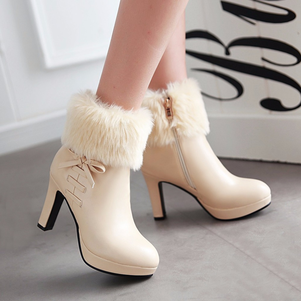 New 2017 high heels boots women autumn and winter boots platform shoes thin heel women black ankle boots heels white shoes <br><br>Aliexpress