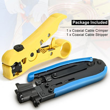 2pcs Automatic Cable Wire Stripper Electric Stripping Tools Speaker Pliers+RG59 RG6 RG11 F-Connector Compression Crimping Tool(China)