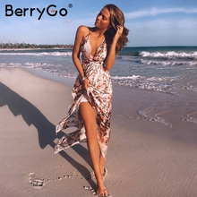 Buy BerryGo Sexy v neck backless satin long dress Women strap floral print boho maxi dress High split causal summer dress vestidos for $20.69 in AliExpress store