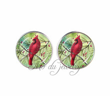 New fashion jewelry red parrot earrings for women bird jewelry glass cabochon ear pendant animal jewellery creative gifts(China)