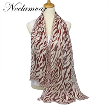 Wholesale 6 colors 2017 new fashion women chiffon scarf polyester Zebra stripes print autumn winter Pattern silk scarves shawl(China)