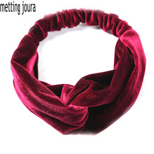 Metting Joura Women Girls Winter Velvet Headband Bohemian Vintage Cross Knot Elastic Hairband Hair Accessoris