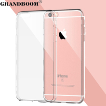GRANDBOOM Slim Transparent Clear Acrylic Soft TPU Shockproof Hard Case Cover for Apple iPhone 7 Plus 6 6S 5 5S With Dust Plug