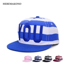 Embroidery YOU Hip hop cap Leisure time Color ring Flat edge cap men and women Lovers Sunscreen Flat edge Baseball cap