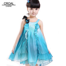 100-150cm Beautiful Flower Girls Dresses For Party And Wedding Chiffon Children Dresses Girls Clothes Kids Beach Clothing(China)