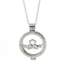 Classic Silver Irish Claddagh Coin  Pendant Necklace UK With 80CM Link Chain Gift Jewelry for Mother's Day