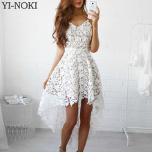YI-NOKI Summer Fashion Women Sexy Dress Boho Casual Mini Bodycon Dresses Women Plus Size White Sexy Lace Beach Maxi Dress