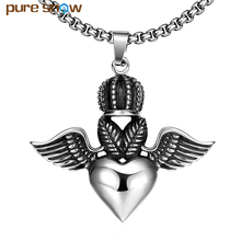 Pure Snow Brand Trend Love God Wings Creative Men Pendants Necklaces Wholesale Rock Hip Hop Style Long Necklace