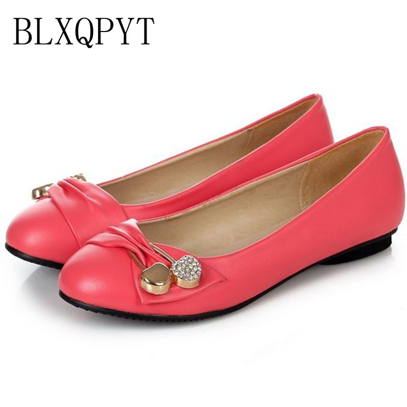 Large Size 34-47 Women's Fashion Shoes Woman Flats Spring Shoes Female Ballet Shoes Metal Round Toe Solid Casual Shoes 08-2