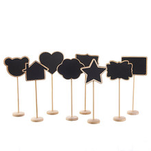 Random Mini Small Wooden Chalk Blackboard Wedding Kitchen Restaurant Signs Chalkboard Writing Notice Message Paint Wood Board(China)