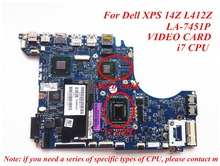 i7 CPU For Dell XPS 14Z L412Z Laptop motherboard LA-7451P mainboard Discrete graphics 100% Tested Free Shipping