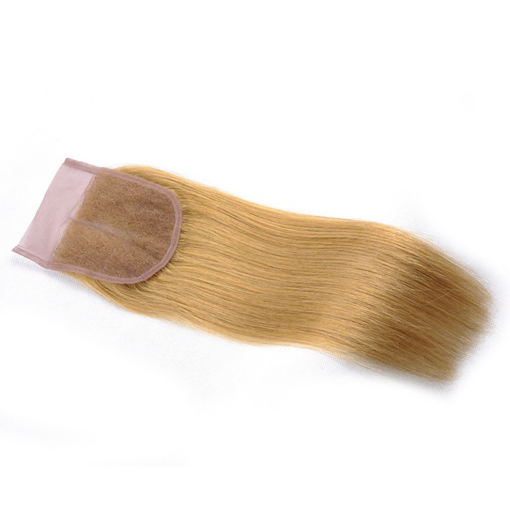 Honey Blonde Brazilian Straight Hair Weave Bundles Color 27 100% Human Hair Extensions (20)
