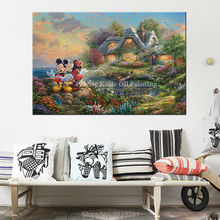 Poster and print of Thomas Kinkade Mickey And Minnie Mouse on canvas, Wall Pictures for living room home decor wall art(China)