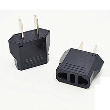 10pcs/lot Brand new black Universal Travel Power Plug Adapter EU EURO to US Adaptor Converter AC Power Plug Adaptor Connector(China)