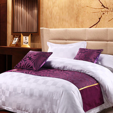 yazi Purple Butterfly Double Layer Bed Runner Scarf Bedroom Hotel Decor Polyester Bed Tail Towel 50x180cm 50x210cm 50x240cm(China)