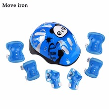 7pcs Panda Kids Bicycle Helmet Elbow Wrist Knee Pads Sport Cyling Bike Helmet for Children Skateboard Mtb Riding casco ciclismo(China)
