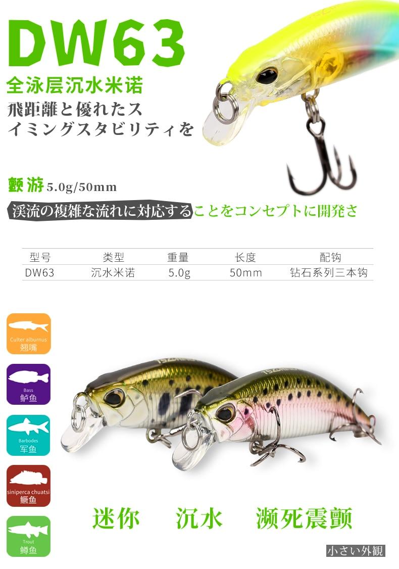 Gorąca sprzedaż 2018 Trulinoya tonący Mini przynęta żywiec 50mm5g połowów przynęty twarde z ruchome kulki stalowe realistyczne 3D rybie oczy -