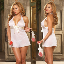 Promotion Sexy Lady Perfect Lingerie Deep V Neck Satin Gauze Nightdress Transparent Nightgown Women Summer Comfort Intimates 4XL