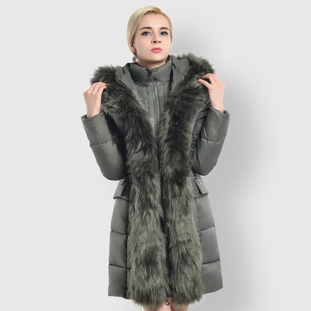 Plus Size Down Cotton Women Faux Fur Collar Hooded Jacket 2018 Fashion Thicken Warm Winter Long Coat For Ladies Casual Parkas