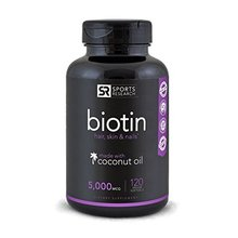 Biotin (High Potency) 5000mcg Per Veggie Softgel; Supports Hair Growth, Glowing Skin and Strong Nails; 120 Mini-Veggie Softgels