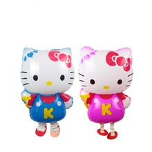 10pcs/lot Hello Kitty Walking Pet Balloons KT Cat  Walking Animal Foil Balloons Party Decoration Supplies Toy Gift Globos Balony