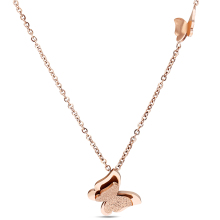 Fashion Vintage Rose Gold-Color Stainless Steel Butterfly Necklace Dull Polish Statement Necklace For Women(China)