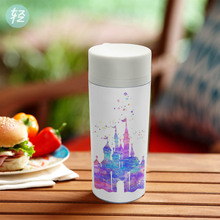 Original Watercolor Plastic Insulated Kids Water Bottles 300ml Gift BPA Free Clear Personalized Modern Fantasy Castle Drinkware