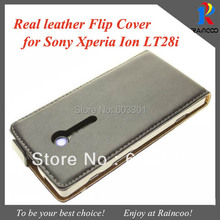 Genuine leather magnetic flip phone cover for sony xperia Ion LT28i, real leather cell phone case, opp bag packing