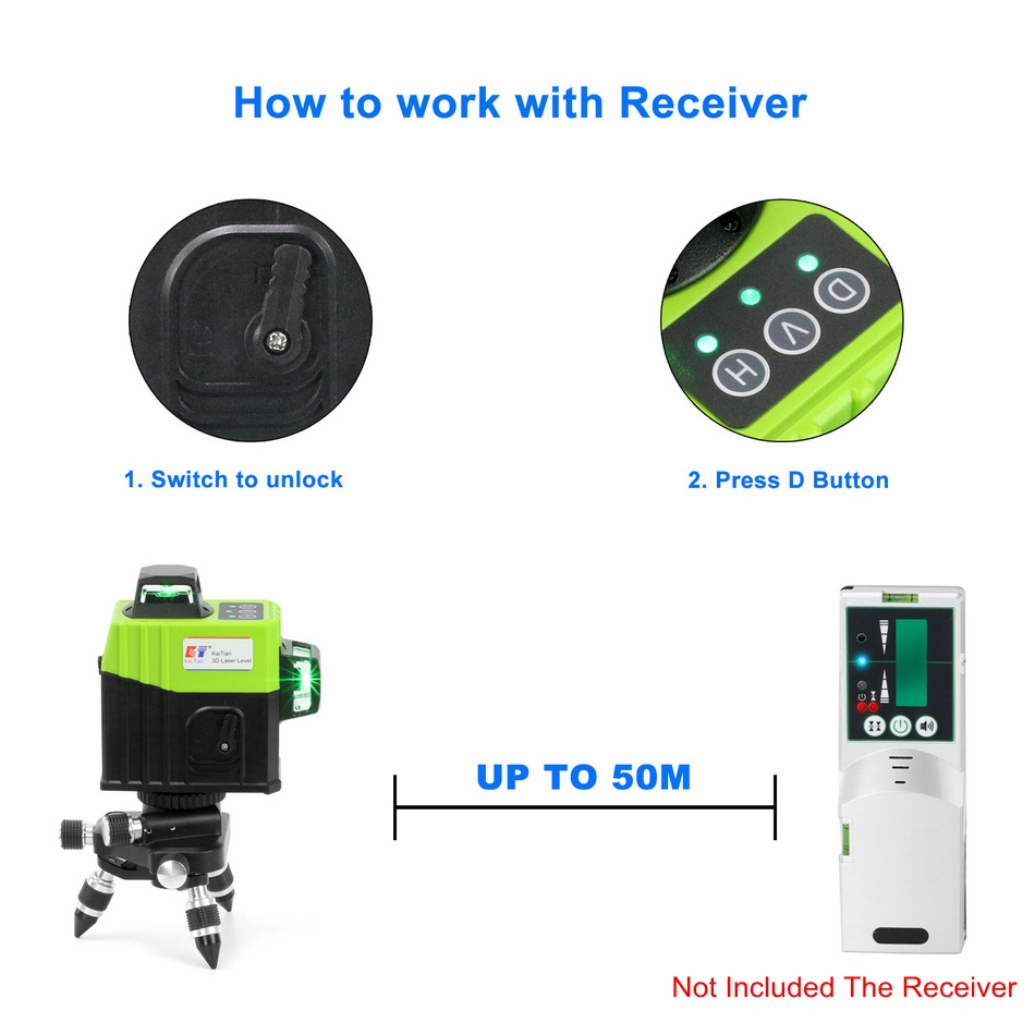 KaiTian 12Lines 3D Laser Levels Self-Leveling Cross Horizontal 360 Vertical Green Laser x Beam 532nm Line Lazer Nivel Level Tool receiver 2