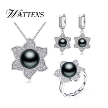 WATTENS  Freshwater Flower Pearl Jewelry Sets,White Black Purple Pearl Sets,elegant Penants&Necklace&Earrings&Rings for women