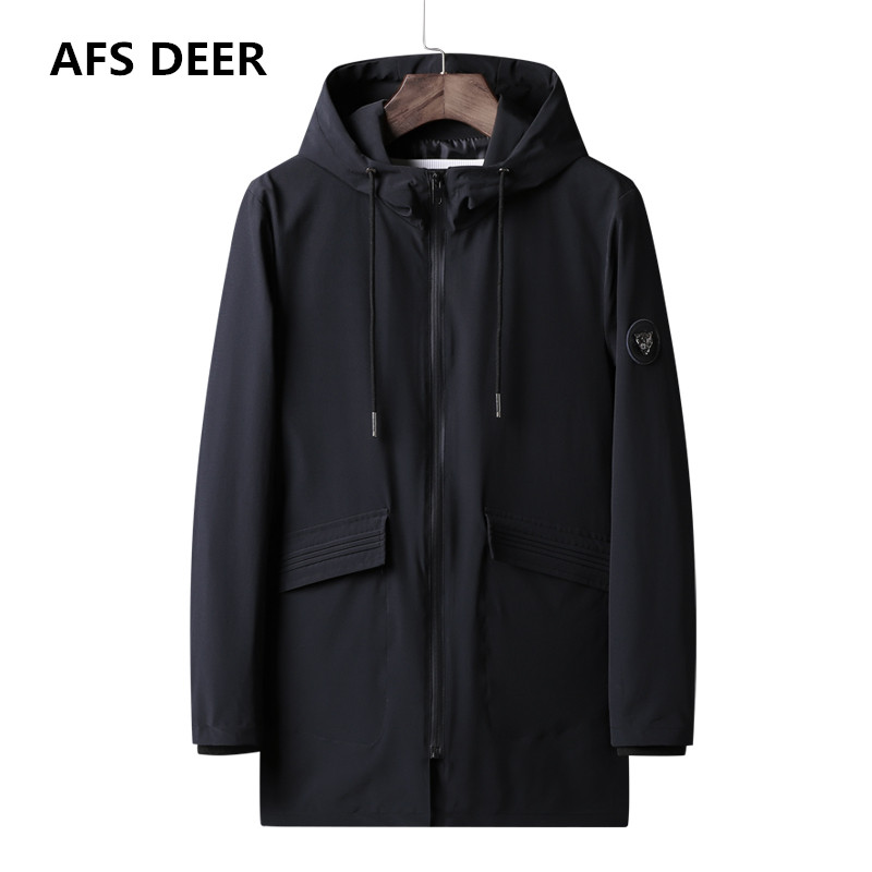 2018 Brand Autumn Winter New Fashion Trench Jacket Coat Men Long Style Outwear Windbreaker Trench Jacket Male Jacket Plus size