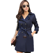 2017 Spring Autumn Fashion Loose Windbreaker Coats Women's Elegant Overcoat Double Breasted Belted Slim Long Trench Coat XH144(China)