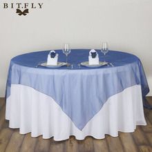 2017 Fashion Hot Sale 30 colors wedding party table cloth Elegant Solid Organza Hotel Banquet table overlay 180*180 cm