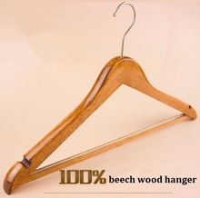 Best beech wood clothes hanger unisex suit clothes hanger flat storage wood hanger for hotel shop home 5pcs/lot free shipping(China)