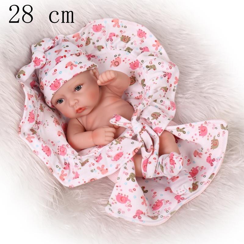 28cm kawaii Girl 10 Inch Doll Reborn Babies Mini Sleepy Newborn Baby Full Silicone Body Dolls Toys Children Kids Gift brinquedos<br><br>Aliexpress