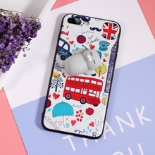 Squishy 3D Silicone Kneading Cat Wrapped Edges Cartoon London Elements TPU Case for iPhone 7 Plus Grey Cat