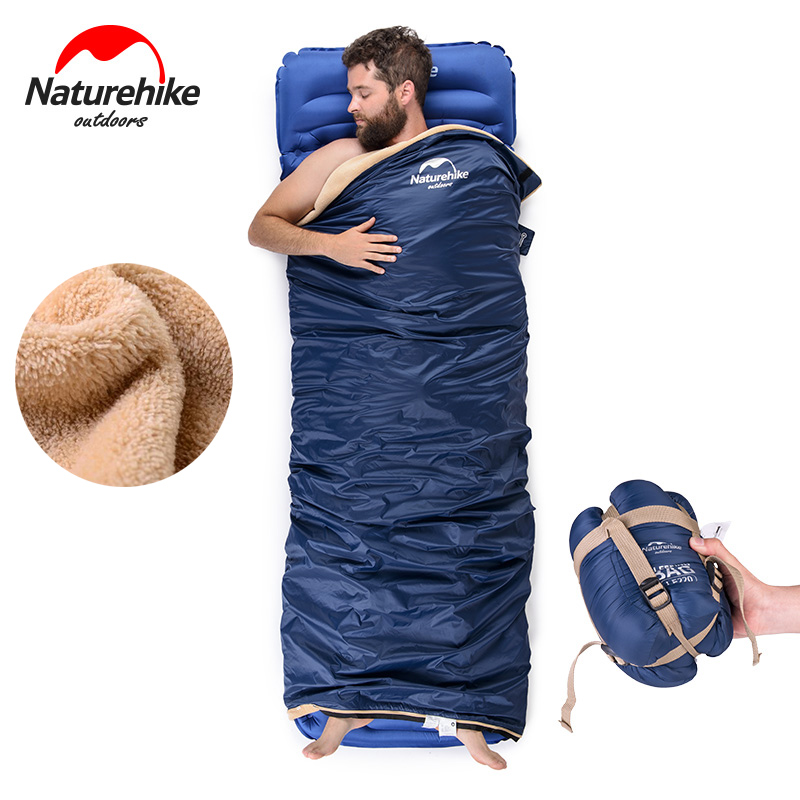Naturehike Ultralight Portable Envelope Coral velvet Sleeping Bag Outdoor Camping Travel Sleeping Bag NH17S015-S<br>
