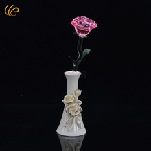 Crystal Rose with Stand New Year Christmas Decorations Valentine's Rose Good Quality Pink Flowers Decorative Flowers & Wreaths(China)