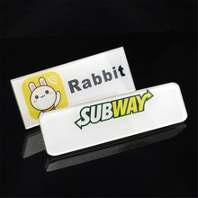 10pcs/lot Wholesale personalized custom printing logo name badge tags security plastic name badge with safety pin for staff(China)