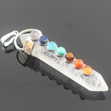 White Crystal Rock Quartz Natual Stone Necklace Pendant 7 Chakra Hexagon Healing Reiki Point Men Women Handmade Jewelry Charms