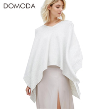 DOMODA Women Fashion Sweater Solid Light Grey High-Low V-neck Knitted Cape Elegant Preppy Style Casual Novelty Sweater