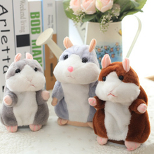 LLTOYS 1 pcs 15CM Lovely Talking Hamster Plush Toy Cute Speak Talking Sound Record Hamster Talking Toys for Children sale(China)