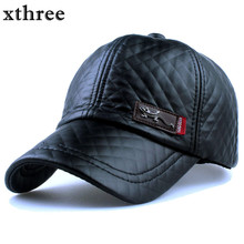 Xthree New fashion high quality faux leather Cap fall winter hat casual snapback baseball cap for men women hat wholesale(China)