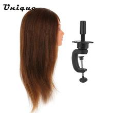 "Pro 24"" 100% Real Human Hair Hairdressing Training Head Salon Dummy Head + Clamp Practice Head Hairdressing Practice Tool"