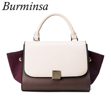 Burminsa Brand Tricolor Trapeze Bags Ladies Designer Handbags High Quality PU Leather Swing Shoulder Crossbody Bags For Women