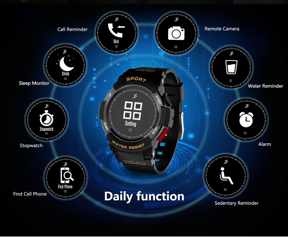DTNO.1 Smart Watches F6 50m Waterproof Smartwatches Sports Nordic NRF51822 Smart Watch Sleep Monitor Remote Camera IOS Android (8)